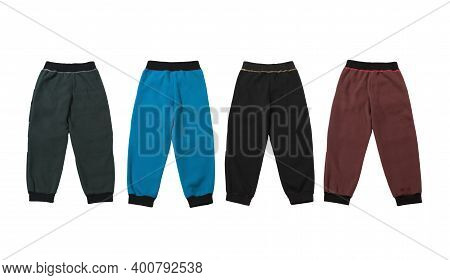 Colorful Fleece Pants Isolated On White Background, Front View