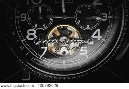 Mechanical Luxury Men Wrist Watch With Automatic Winding, Closeup Photo With Selective Focus