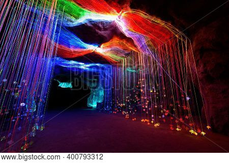 Lighting Decorate On The Cave Like Waterfall Shape In Lighting Festival Show