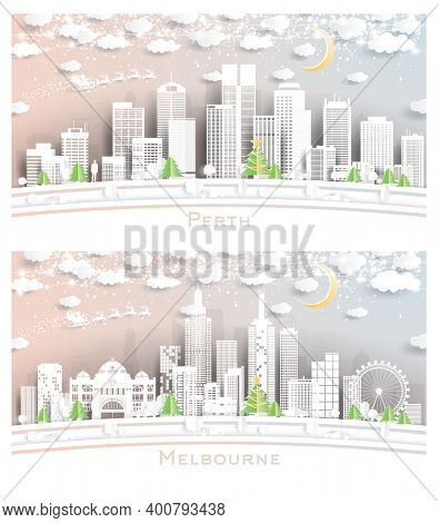 Melbourne and Perth Australia City Skyline Set in Paper Cut Style with Snowflakes, Moon and Neon Garland.