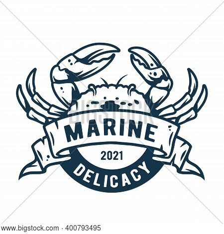 Marine Ocean Crab. Nautical Delicacy Seafood Logo
