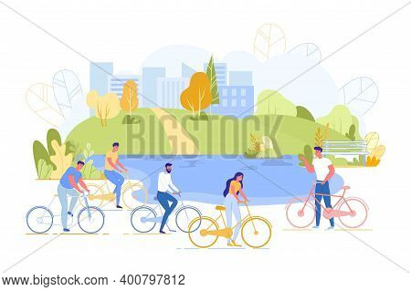 Prompt Poster, Street Meeting Friends Bike Ride. Men And Women Gathered For Ride Bicycles. Group Peo