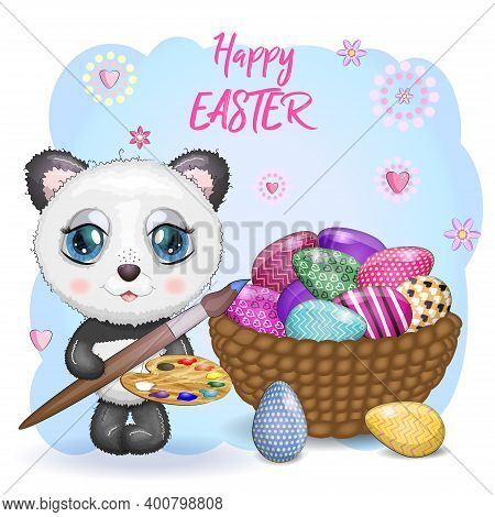 Cute Panda With A Tassel And A Decorated Egg, The Phrase Happy Easter. Easter Eggs, Branches With Le