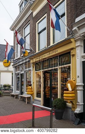 Gouda, Netherlands, November 2018 - Cheese Shop Front In The City Of Gouda, Newtherlands