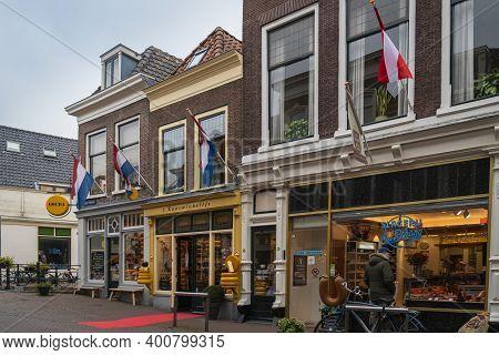 Gouda, Netherlands, November 2018 - Shop Facades In The City Of Gouda, Netherlands