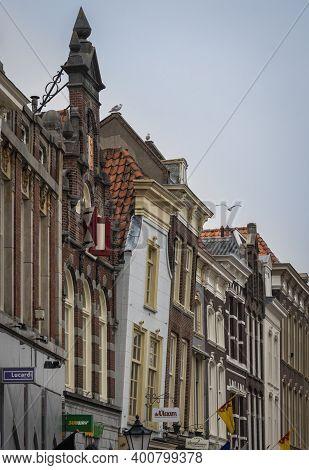 Gouda, Netherlands, November 2018 - Building Facades In The City Of Gouda, Netherlands