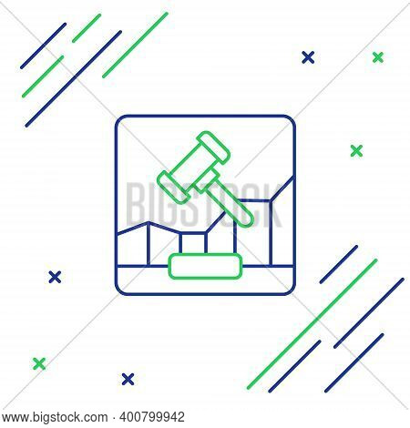 Line Online Internet Auction Icon Isolated On White Background. International Trade Concept. Investm