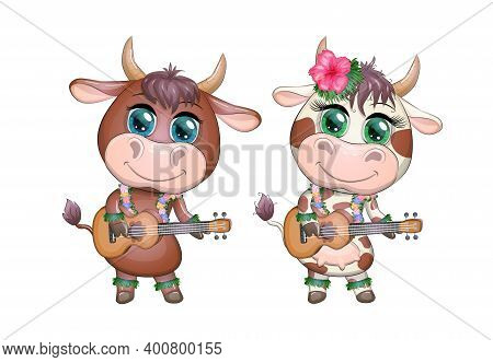 Cute Cartoon Bull, Cow With Beautiful Eyes, Hawaiian Hula Dancer Character With Ukulele Guitar Among