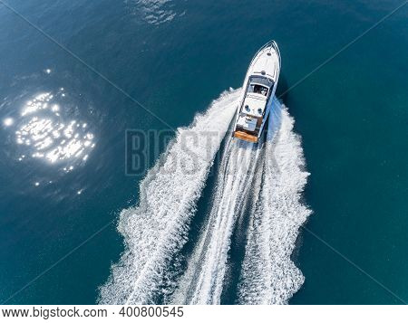 Motor Boat In Navigation Drone Aerial View