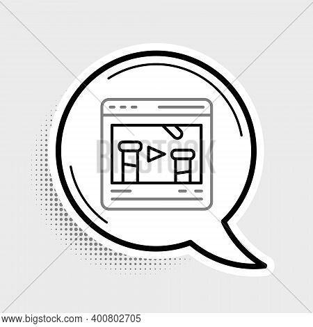 Line Chemical Experiment Online Icon Isolated On Grey Background. Scientific Experiment In The Labor