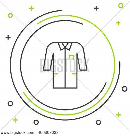 Line Laboratory Uniform Icon Isolated On White Background. Gown For Pharmaceutical Research Workers.
