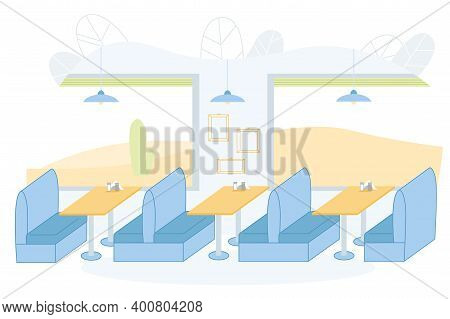 Vector Illustration, Simple Interior Cafe Bistro. Most Comfortable Space For Eating Small Cafe Or Di