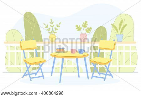 Home Or Resort Terrace, Veranda, Balcony Furnished With Table And Chairs. Outdoor Comfortable Rest P