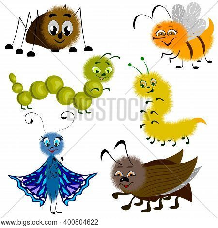 Vector Set Of Funny Cartoon Insects.funny Insects In Color Vector Set Isolated On White Background.