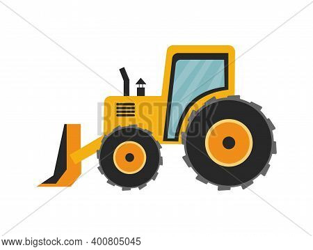 Snow Plow Tractor For Cleaning City Street After Snowfall In Winter Season.