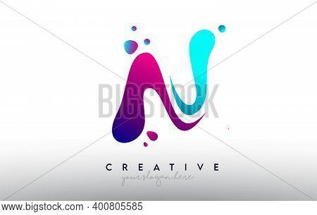 N, N, Blue, Purple, Colorful, Bubble, Gum, Bubble Gum, Fluid, Rainbow, Typography, Logo, Concept, Ve