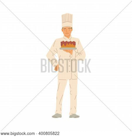 Professional Cooking Chef Confectioner Hold Cake In Hand A Vector Illustration
