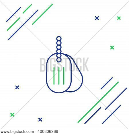 Line Military Dog Tag Icon Isolated On White Background. Identity Tag Icon. Army Sign. Colorful Outl
