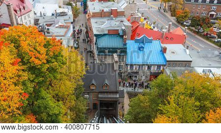 QUEBEC CITY, QUEBEC, CANADA - OCTOBER 14, 2018: View of Old Quebec Lower Town, the area is a UNESCO World Heritage Site.