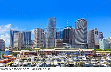 Miami,Florida-July 3,2017: Miami city is the third most populous metropolis on the East coast of the United States and seventh largest in USA.