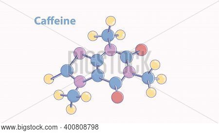 Abstract Caffeine Molecule Vector Model. Color Caffeine Molecule With Stipple Shadinng