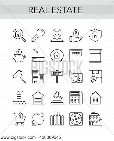 Real Estate Thin Line Icon Set For Consulting Realty Agency