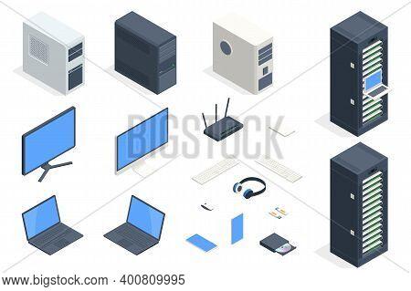 Isometric Data Center And Network Elements. Server Room Data Center. Big Modern Data Center, Server