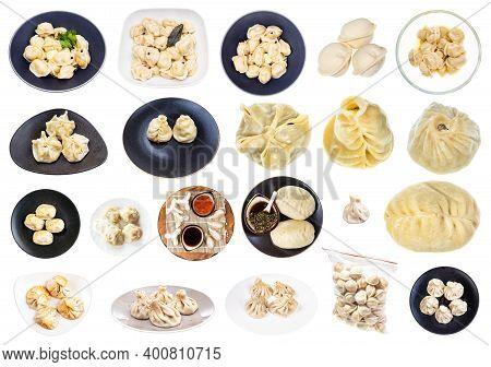 Collage From Various Dumplings (dim Sum, Buuz, Pelmeni, Pyanse, Khinkali, Manti, Etc) Isolated On Wh