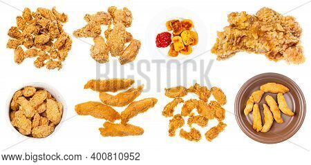 Collection Of Various Deep Fried Chicken Pieces (nuggets, Strips, Wings, Etc) Isolated On White Back