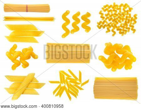 Collection Of Dried Italian Pasta Isolated On White Background