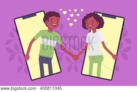 Love And Long Distance Romantic Relationship Through Tablet Screen. Young Black People Communicate B
