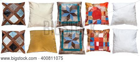 Collection Of Various Handmade Pillows Isolated On White Background