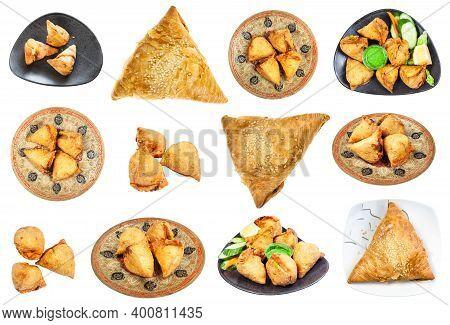 Set Of Various Samsa And Samosa Dishes (savoury Pastry) Isolated On White Background