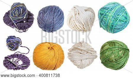 Collection Of Skeins Isolated On White Background