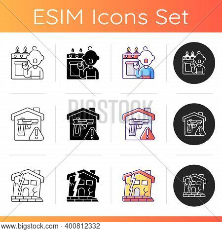 Home Hazards Prevention Icons Set. Childhood Trauma. Weapons Storage. Abandoned Buildings. Child-res