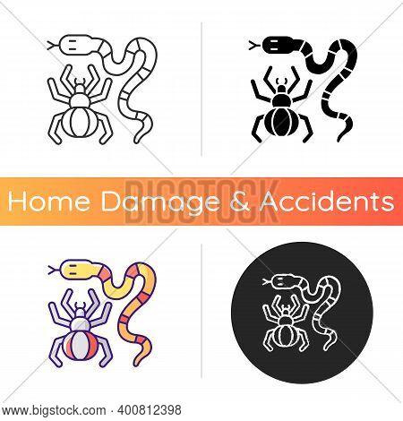 Dangerous Animals Icon. Exotic Pets. Poisonous Snakes And Venomous Spiders. Cobras, Vipers And Rattl