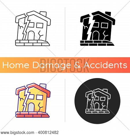 Dilapidated House Icon. Abandoned Buildings. Dangers In Old Houses. Health And Safety Hazards. Derel