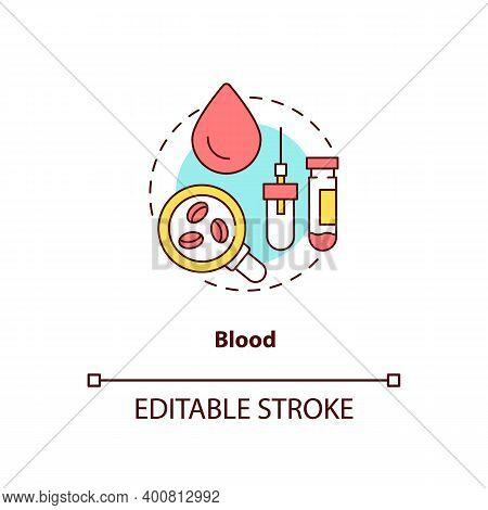 Blood Concept Icon. Lab Sample Idea Thin Line Illustration. Finger Prick. Laboratory Sample Tubes. T