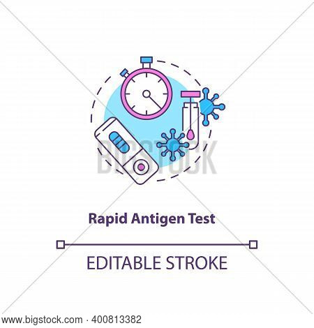 Rapid Antigen Test Concept Icon. Covid Testing Type Idea Thin Line Illustration. Nasopharyngeal Swab
