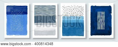 Set Of Abstract Hand Painted Illustrations For Postcard, Social Media Banner, Brochure Cover Design