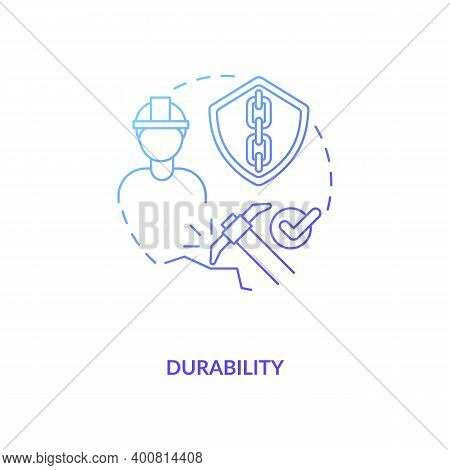 Durability Blue Gradient Concept Icon. Concrete Material. Resistance To Weathering Action And Damage