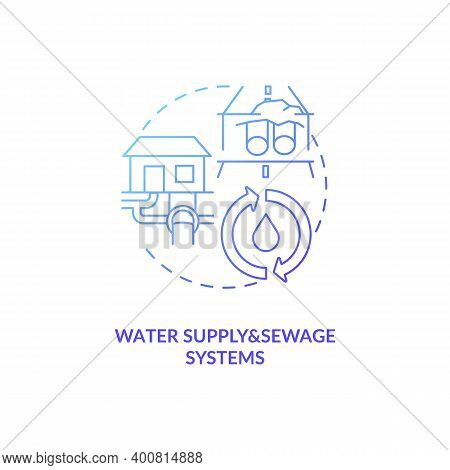 Water Supply And Sewage Systems Blue Gradient Concept Icon. Sewer Pipeline. Waste Management. Civil