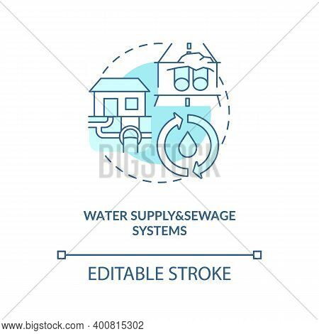 Water Supply And Sewage Systems Turquoise Concept Icon. Sewer Pipeline. Waste Management. Civil Engi