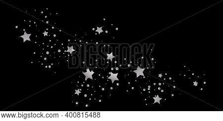 Silver Star Of Confetti. Falling Starry Background. Random Stars Shine On A Black Background. The Da