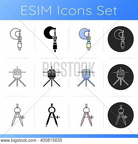 Measurement Tools Icons Set. Micrometer. Laser Line Level. Compass. Measuring Object Length And Dept
