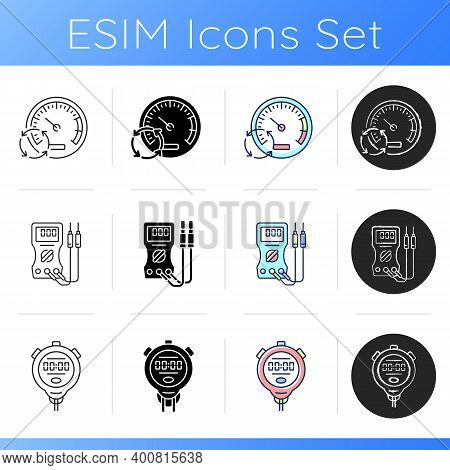 Measuring Tools Icons Set. Pressure Gauge. Ammeter. Stopwatch. Measuring Elapsed Time. Voltmeter And