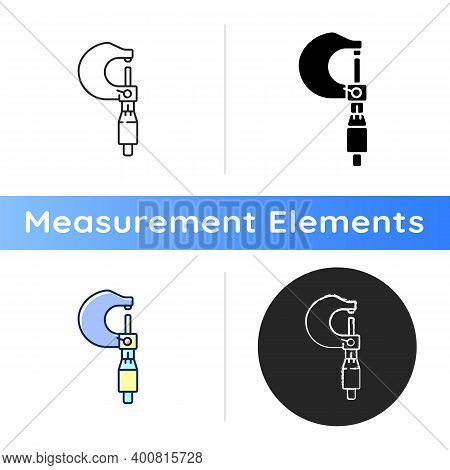 Micrometer Icon. Accurate Measurements For Engineering Purposes. Measuring Object Length And Dept. M