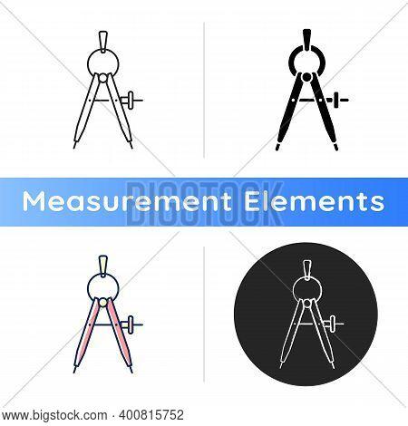 Compass Icon. Drawing Tool. Circle Maker. Measuring Distances. Mathematics, Drafting, Navigation. V-