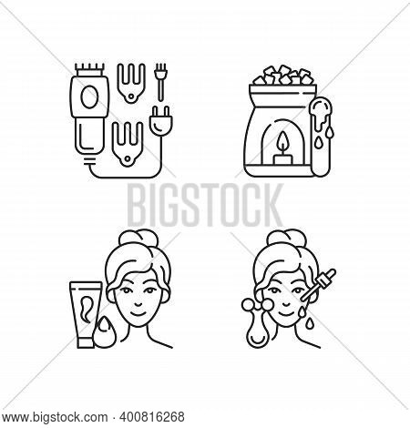 Beauty Care Appliances Linear Icons Set. Electric Hair Clippers. Wax Warmer. Makeup Sponge. Hair Tri