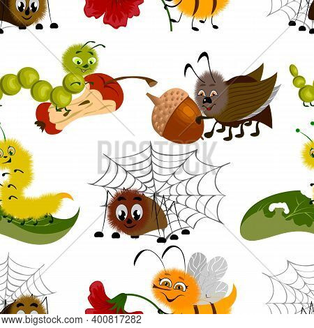 Colored Pattern With Cartoon Insects.cheerful Cartoon Insects In A Colored Pattern On A White Backgr
